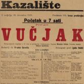 Notice for the play Vučjak, December 1923