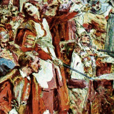 Križevci Bloody Assembly in 1397, the painting made by Oton Iveković in 1914, displayed on the arch of the Church of the Holy Cross